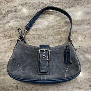 Coach Light Blue Suede Hobo Bag